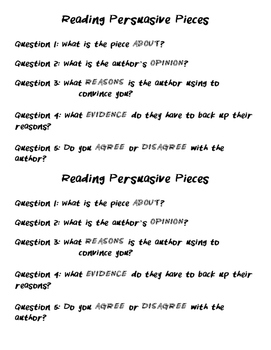 Tips for Reading Persuasive Pieces