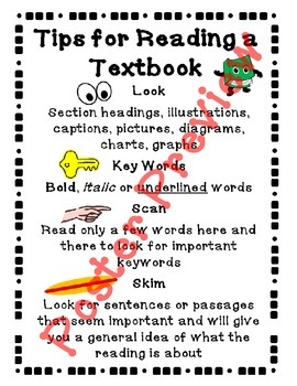 """Tips for Reading a Textbook (16""""x20"""") Printable Poster"""