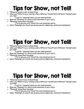 Tips for Show not Tell