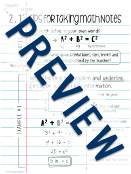 Tips for Taking Math Notes Poster