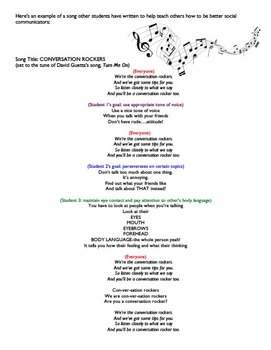 Social Skills Tips for Talkin' Song Project