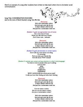 Social Skills Tips for Talkin' Song Project