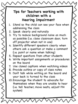 Tips for Teachers of Hearing Impaired Students