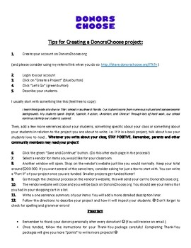 Tips for Writing a DonorsChoose.org Project!