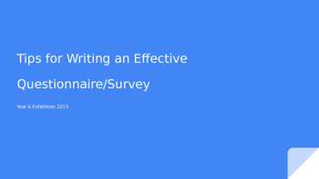 Tips for Writing an Effective Questionnaire/Survey