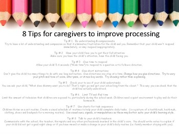 Tips for caregivers to improve processing