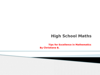 Tips for excellence in Maths