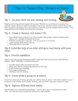 Tips for supporting Literacy at Home