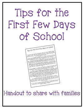 Tips for the First Few Days of School Handout for Families