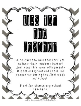 Tips for the Teacher- Getting to Know Your Students