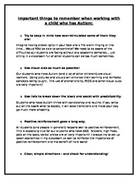 Tips for working with a child who has Autism, ASD