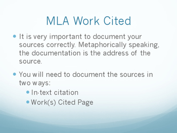 Tips on MLA Work(s) Cited-- 8th Edition