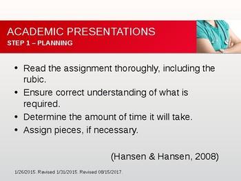 Tips on Preparing Academic Presentations