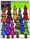 Tipsy Christmas Tree Clipart {Creative Clips Clipart}