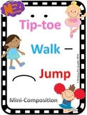 Tiptoe, Walk, and Jump Mini-Composition - Worksheet for Long and Short