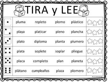 Tira y Lee:  Práctica para Fluidez con  Palabras de Sílabas Trabadas
