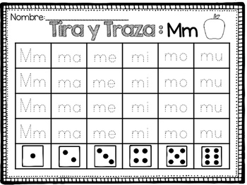 Tira y Traza: Silabas / Roll and Trace Syllables SPANISH