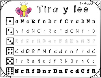 Tira y lee - Roll and Read Spanish Letter Naming Fluency