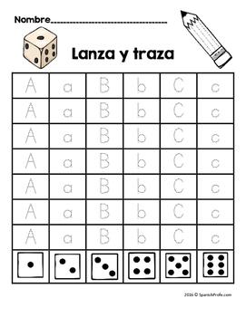 Tira y traza las letras del alfabeto (Roll and Trace Letters in Spanish)