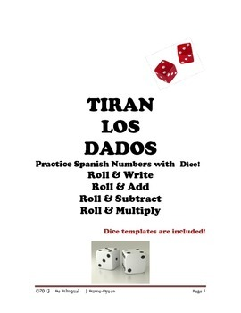 Tira Los Dados - Dice Roll Number Practice in Spanish