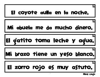 Tiras de Oraciones Cortas Nivel Avanzado - Spanish Sentence Strips