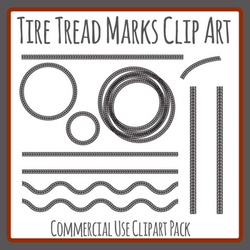 Tire Tread Marks / Patterns / Lines Clip Art for Commercial Use