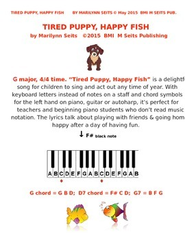 Tired Puppy Happy Fish - song for children - uses piano key letters not notes.