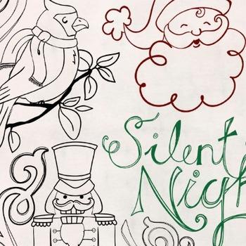 Christmas Doodle ClipArt, Nutcracker Black Line Art, Holiday Santa, Snowman