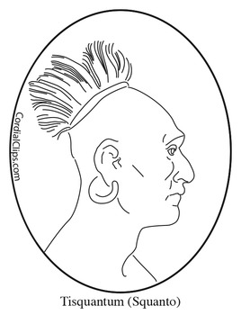 Tisquantum squanto clip art coloring page or mini poster for Squanto coloring pages