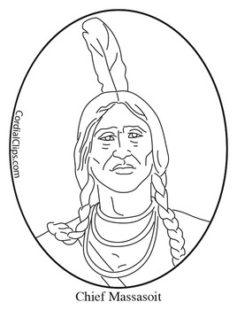 Chief Massasoit Clip Art, Coloring Page or Mini Poster