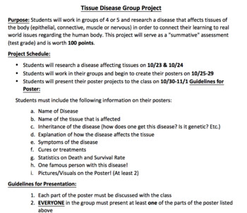Tissue Disease Project Guideline and Rubric