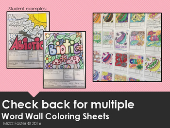 Tissue Word Wall Coloring Sheet