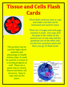 Tissue and Cells Flash Cards