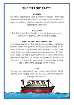 Titanic Fact Cards