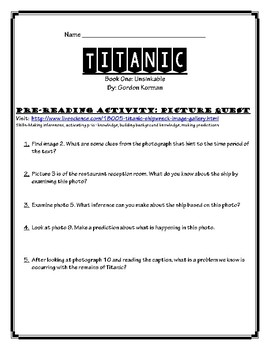 Titanic: Book One Unsinkable   COMPLETE UNIT!