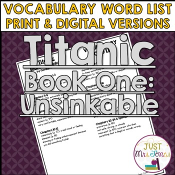 Titanic, Book One Unsinkable Vocabulary Word List