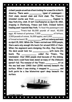 Titanic Cloze Procedure Exercise