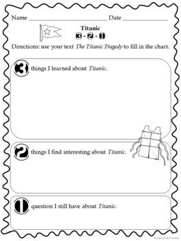 Titanic! Comprehension Activities