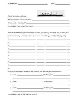 Titanic Essay and Quiz sheet