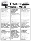 Titanic Extension Menu, Nine Creative Projects