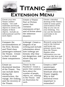 Titanic Extension Menu, Nine Creative Projects