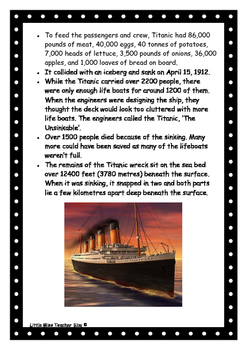 Titanic Fact Document