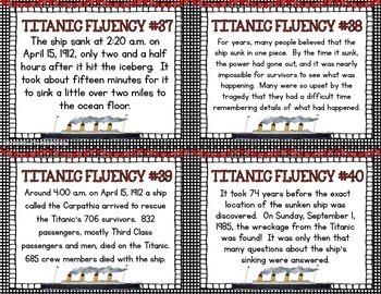 Titanic Fluency Task Cards