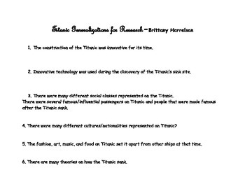 Titanic Generations for Research Packet