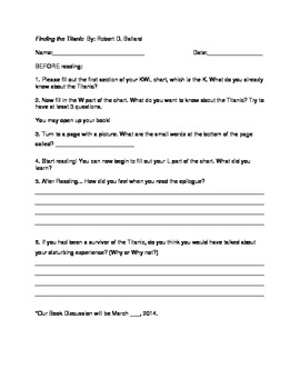 Titanic Guided Reading Worksheet