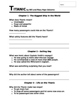 Titanic - Magic Tree House novel study