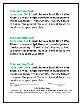 "Titanic-  Media Assignment- ""Titanic at 100: Mystery Solved""."