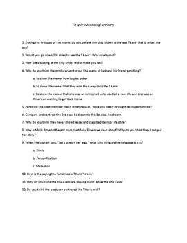 Titanic Movie Questions