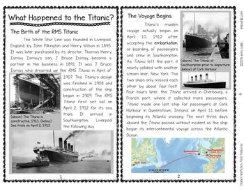 picture regarding Printable Nonfiction Articles With Text Features known as Titanic! Nonfiction Terms Functions Evaluating Many Accounts 4-8 NO PREP