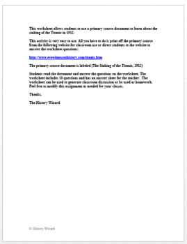 Titanic Primary Document Worksheet and Writing Activity